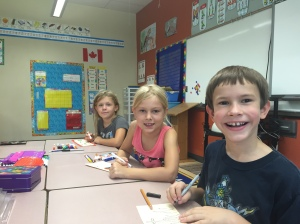 Jessica, Taylor and Wyatt settled into their grade 3 class.