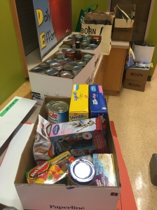 Some of the food collected for