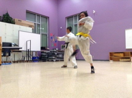 Caitlyn and Zachary demonstrated their Tae Kwon Do moves